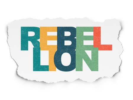 rebellion: Politics concept: Painted multicolor text Rebellion on Torn Paper background