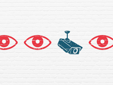 security safety: Security concept: row of Painted red eye icons around blue cctv camera icon on White Brick wall background