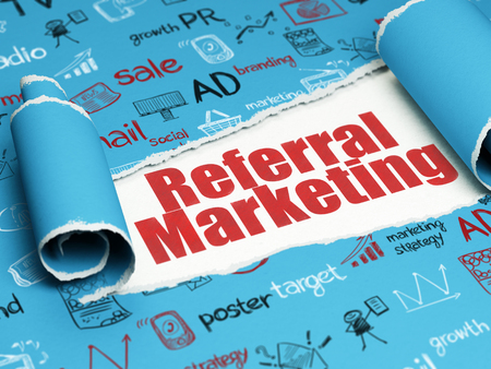 referral marketing: Marketing concept: red text Referral Marketing under the curled piece of Blue torn paper with  Hand Drawn Marketing Icons