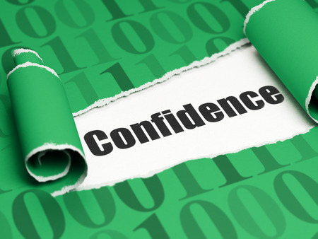 brand damage: Business concept: black text Confidence under the curled piece of Green torn paper with  Binary Code