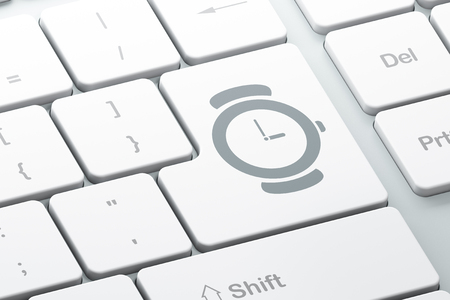 cronologia: Time concept: Enter button with Watch on computer keyboard background, 3d render Foto de archivo