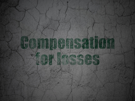 compensation: Banking concept: Green Compensation For losses on grunge textured concrete wall background