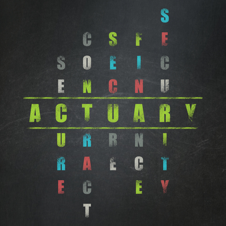 actuary: Insurance concept: Painted green word Actuary in solving Crossword Puzzle on School Board background Stock Photo