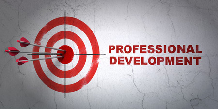 Success Studying concept: arrows hitting the center of target, Red Professional Development on wall background Stock Photo