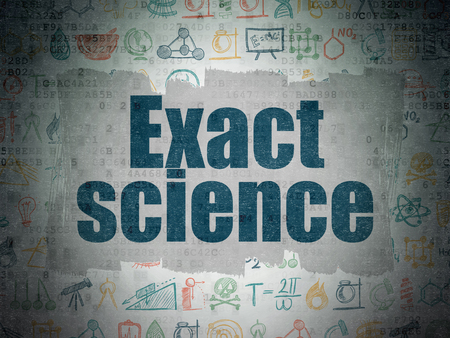 exact science: Science concept: Painted blue text Exact Science on Digital Paper background with   Hand Drawn Science Icons