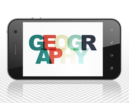 geography: Science concept: Smartphone with Painted multicolor text Geography on display