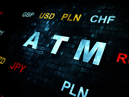letra de cambio: concepto de moneda: pixelada ATM texto azul en la pared de fondo digital con la moneda