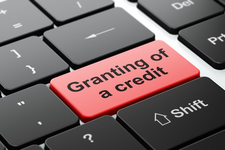 granting: Banking concept: computer keyboard with word Granting of A credit, selected focus on enter button background, 3d render Stock Photo