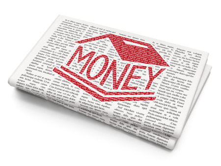 news values: Currency concept: Pixelated red Money Box icon on Newspaper background