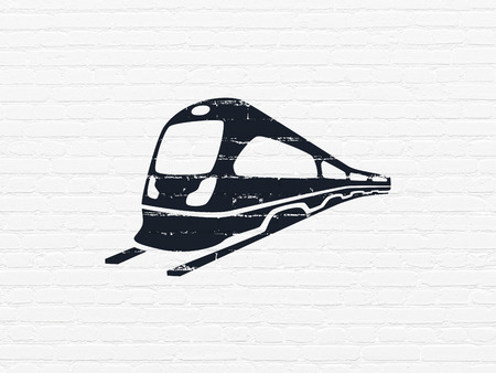 black train: Travel concept: Painted black Train icon on White Brick wall background