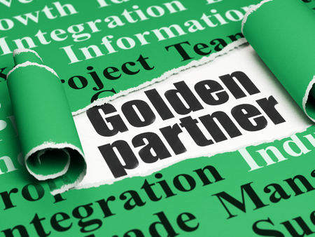 brand damage: Business concept: black text Golden Partner under the curled piece of Green torn paper with  Tag Cloud