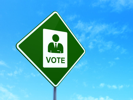 dictatorship: Politics concept: Ballot on green road highway sign, clear blue sky background, 3d render Stock Photo