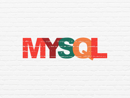 mysql: Programming concept: Painted multicolor text MySQL on White Brick wall background Stock Photo