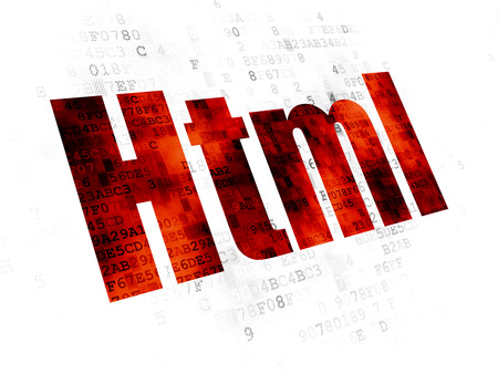 pixelated: Database concept: Pixelated red text Html on Digital background Stock Photo