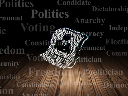dictatorship: Political concept: Glowing Ballot icon in grunge dark room with Wooden Floor, black background with  Tag Cloud Stock Photo