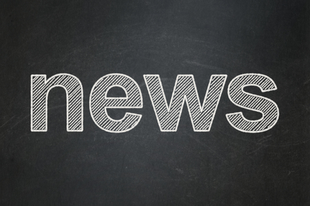 urgent announcement: News concept: text News on Black chalkboard background Stock Photo
