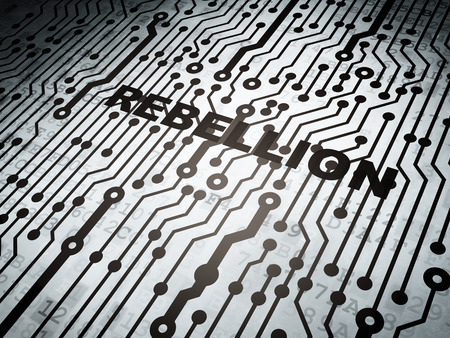electronic voting: Politics concept: circuit board with  word Rebellion, 3d render