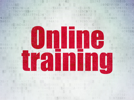 e systems: Studying concept: Painted red word Online Training on Digital Paper background Stock Photo