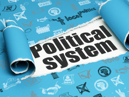 political system: Politics concept: black text Political System under the curled piece of Blue torn paper with  Hand Drawn Politics Icons