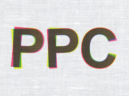 ppc: Marketing concept: CMYK PPC on linen fabric texture background Stock Photo