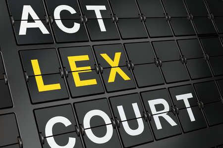 data protection act: Law concept: Lex on airport board background, 3d render Stock Photo