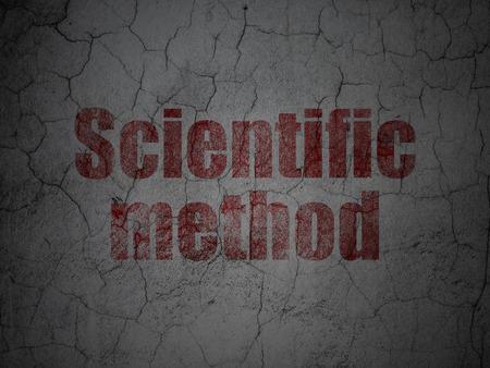 metodo cientifico: Concepto de la ciencia: Método Científico rojo en el grunge textura de fondo muro de hormigón Foto de archivo