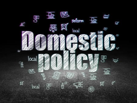 domestic policy: Political concept: Glowing text Domestic Policy,  Hand Drawn Politics Icons in grunge dark room with Dirty Floor, black background Stock Photo