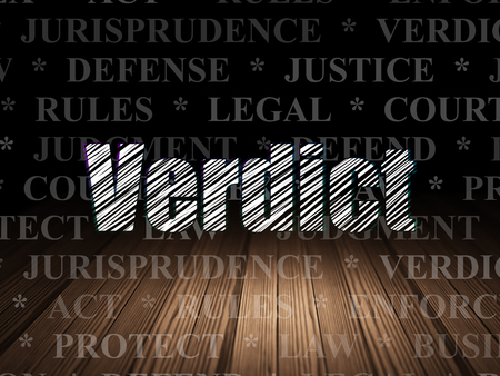 verdict: Law concept: Glowing text Verdict in grunge dark room with Wooden Floor, black background with  Tag Cloud