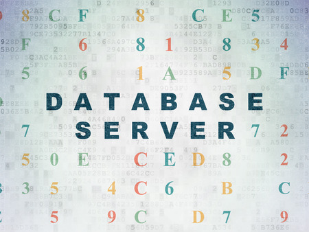 hexadecimal: Database concept: Painted blue text Database Server on Digital Paper background with Hexadecimal Code