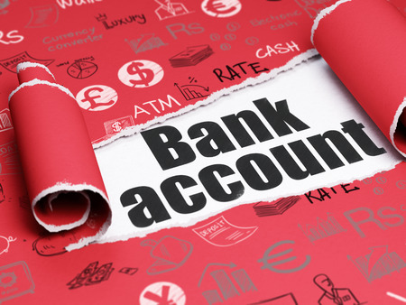 cuenta bancaria: Concepto de dinero: texto negro de cuenta bancaria debajo de la pieza de papel rasgado rizado rojo con iconos de Finanzas dibujado a mano Foto de archivo