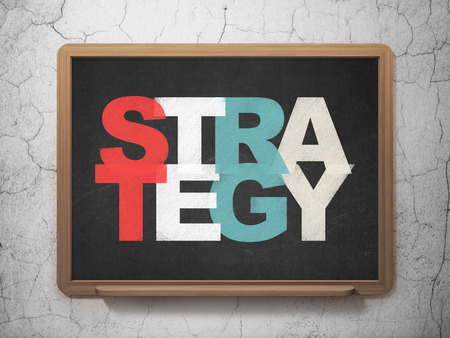 school strategy: Business concept: Painted multicolor text Strategy on School Board background Stock Photo