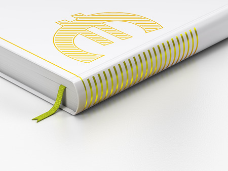 closed book: Currency concept: closed book with Gold Euro icon on floor, white background, 3d render Stock Photo