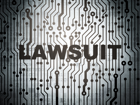 data protection act: Law concept: circuit board with  word Lawsuit, 3d render