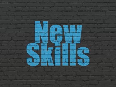 learning new skills: Learning concept: Painted blue text New Skills on Black Brick wall background Stock Photo