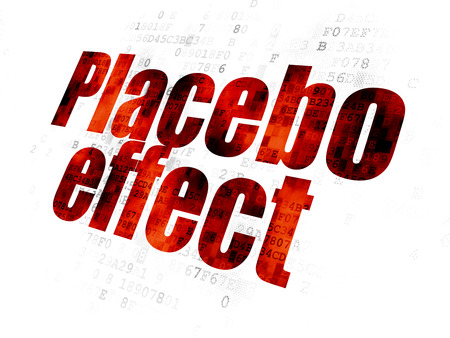 placebo: Health concept: Pixelated red text Placebo Effect on Digital background