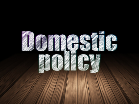 domestic policy: Politics concept: Glowing text Domestic Policy in grunge dark room with Wooden Floor, black background Stock Photo
