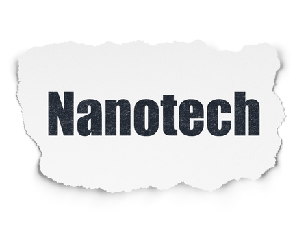 nanotech: Science concept: Painted black text Nanotech on Torn Paper background with  Tag Cloud Stock Photo