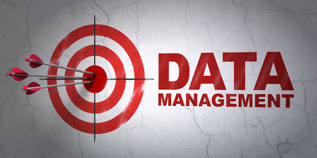 hitting a wall: Success Information concept: arrows hitting the center of target, Red Data Management on wall background