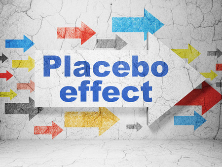 placebo: Medicine concept:  arrow with Placebo Effect on grunge textured concrete wall background Stock Photo