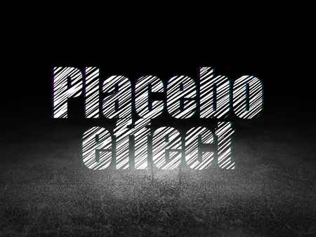 placebo: Healthcare concept: Glowing text Placebo Effect in grunge dark room with Dirty Floor, black background