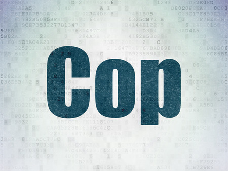 data protection act: Law concept: Painted blue word Cop on Digital Paper background