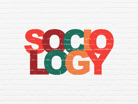 sociologia: El estudio de concepto: Pintado Sociología texto multicolor en blanco del ladrillo la pared de fondo Foto de archivo