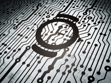 cronologia: Timeline concept: circuit board with  Watch icon, 3d render