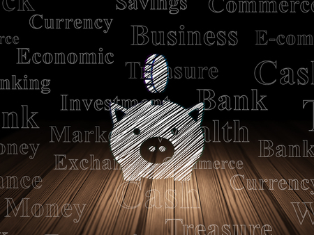 coin box: Banking concept: Glowing Money Box With Coin icon in grunge dark room with Wooden Floor, black background with  Tag Cloud Stock Photo