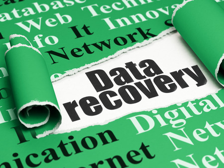 data recovery: Information concept: black text Data Recovery under the curled piece of Green torn paper with  Tag Cloud