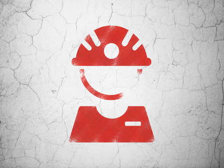 factory worker: Manufacuring concept: Red Factory Worker on textured concrete wall background