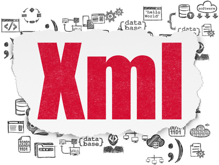 xml: Programming concept: Painted red text Xml on Torn Paper background with  Hand Drawn Programming Icons Stock Photo