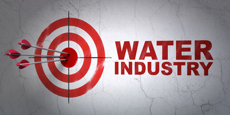 industry background: Success Industry concept: arrows hitting the center of target, Red Water Industry on wall background Stock Photo
