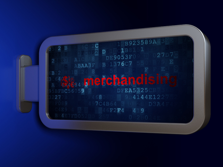 merchandising: Marketing concept: Merchandising and Finance Symbol on advertising billboard background, 3d render