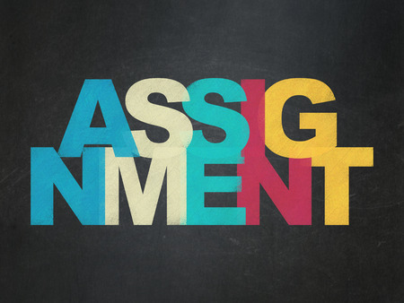 assignment: Law concept: Painted multicolor text Assignment on School Board background Stock Photo
